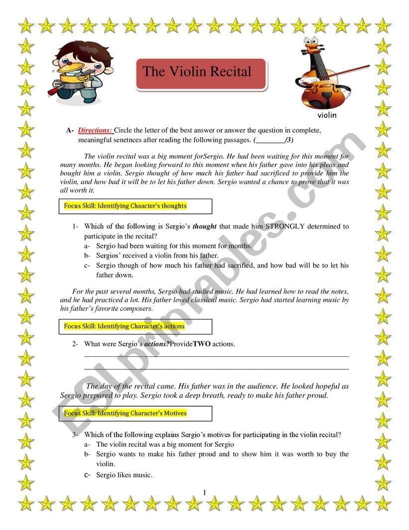 Exam (The Violin Recital) worksheet