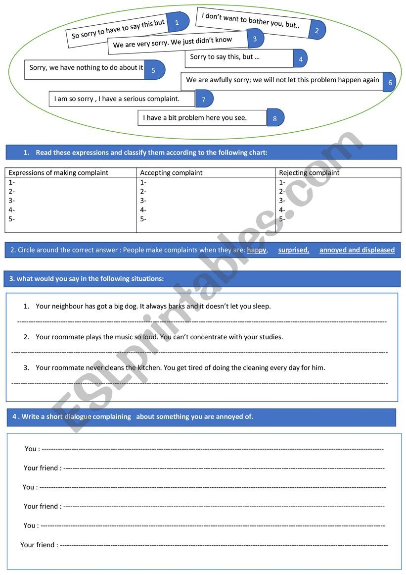 making complaint worksheet