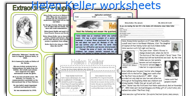 English teaching worksheets: Helen Keller