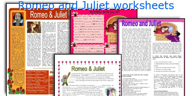 English teaching worksheets Romeo and Juliet – Romeo and Juliet Worksheet