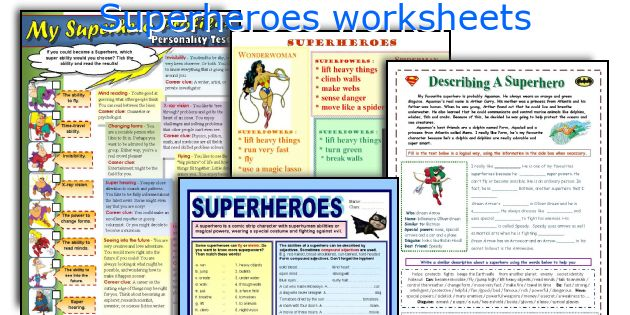 Superheroes worksheets