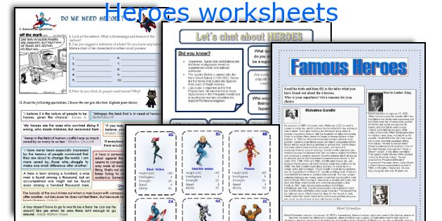Heroes worksheets