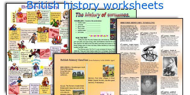British history worksheets