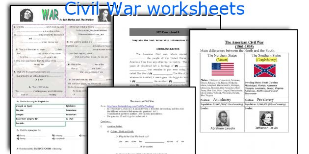 English teaching worksheets Civil War – Civil War Worksheets