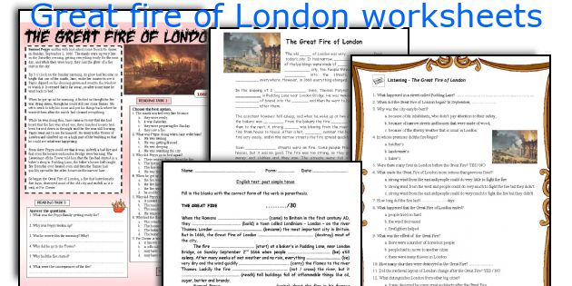 Great fire of London worksheets