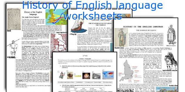 History of English language worksheets