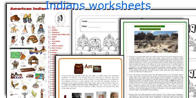 Indians worksheets