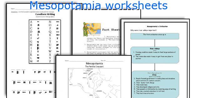 Mesopotamia worksheets