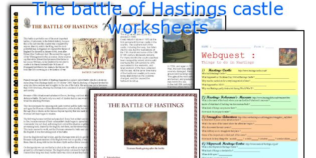 The battle of Hastings castle worksheets