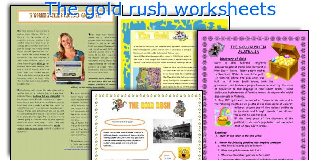 The gold rush worksheets