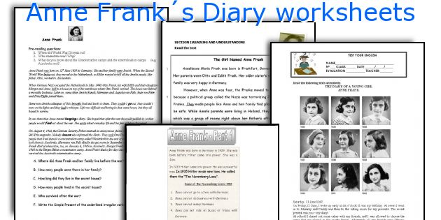 Anne Franks Diary Worksheets