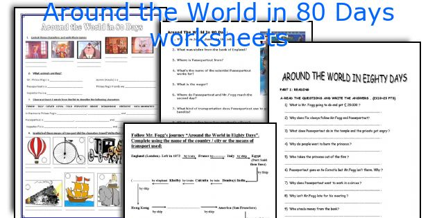 Around The World In 80 Days Worksheets