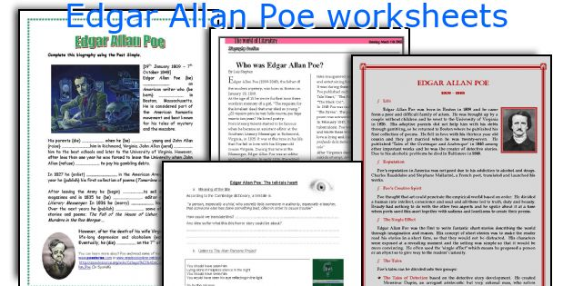 English teaching worksheets Edgar Allan Poe – Edgar Allan Poe Worksheets