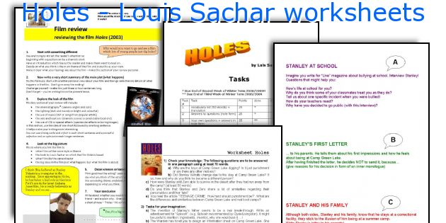 holes louis sachar worksheets worksheets and activities for teaching ...
