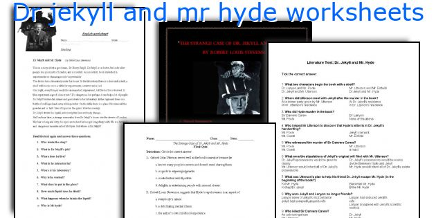 Dr jekyll and mr hyde worksheets