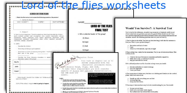 Lord of the flies worksheets