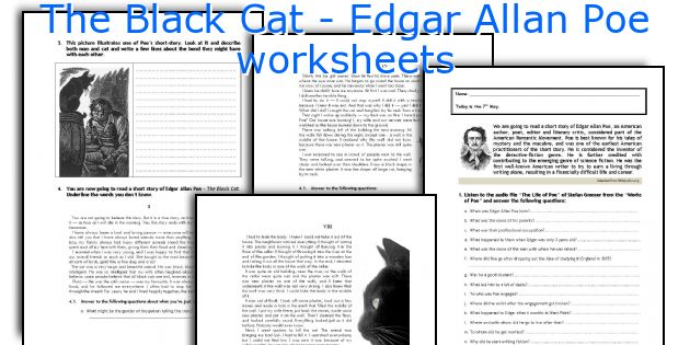 The Black Cat - Edgar Allan Poe worksheets