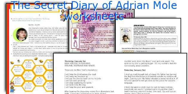 The Secret Diary of Adrian Mole worksheets