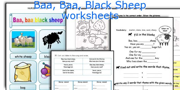 Baa, Baa, Black Sheep worksheets