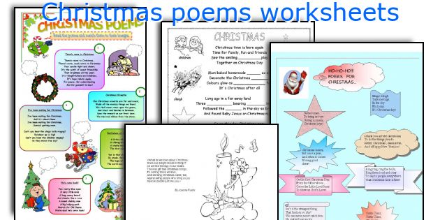 Christmas poems worksheets