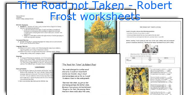 photo relating to The Road Not Taken Printable identify The Highway not Taken - Robert Frost worksheets