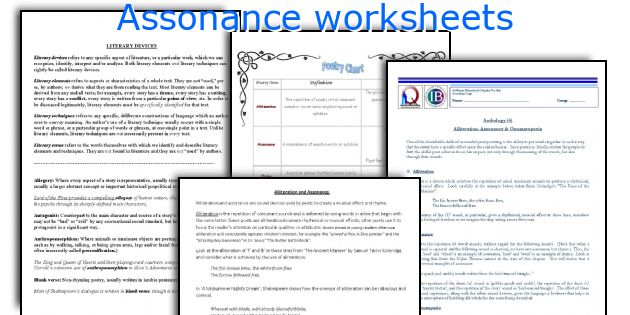 assonance worksheets. Black Bedroom Furniture Sets. Home Design Ideas