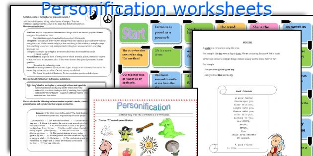 English teaching worksheets Personification – Personification Worksheet