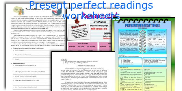 Present perfect readings worksheets