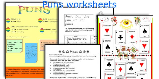 Puns worksheets