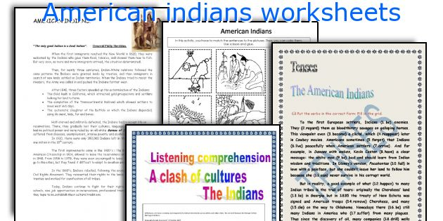 American indians worksheets