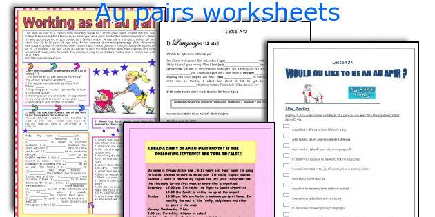 Au pairs worksheets