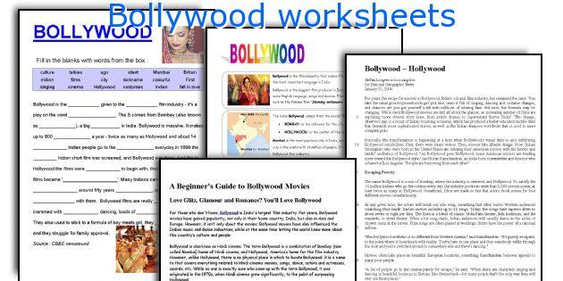 Bollywood worksheets