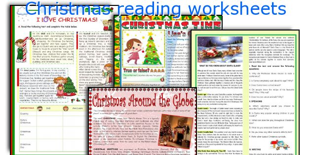 Christmas reading worksheets