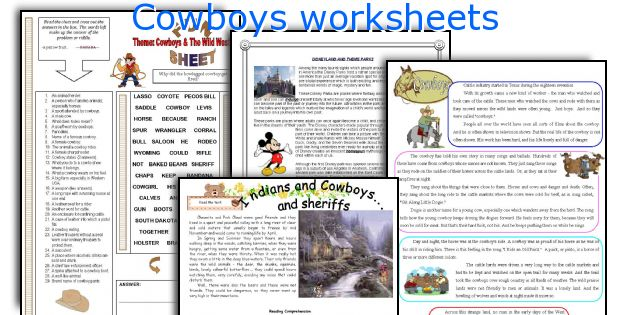 Cowboys worksheets