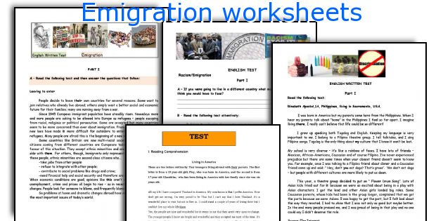 Emigration worksheets