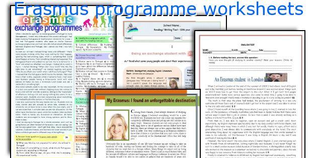 Erasmus programme worksheets