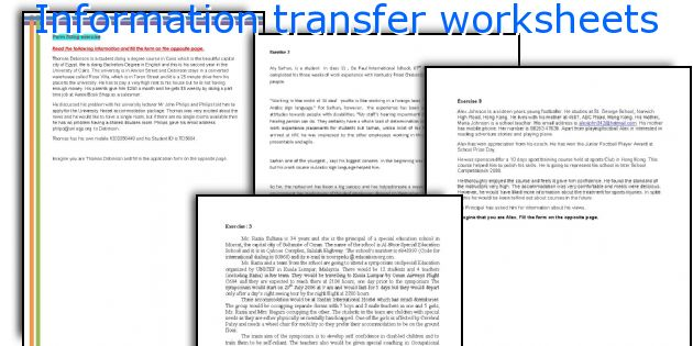 Information transfer worksheets