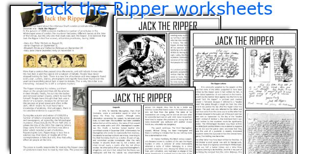 Jack the Ripper worksheets