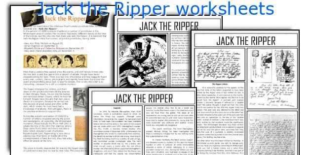 Jack the Ripper worksheets