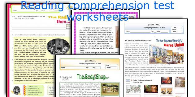 Reading comprehension test worksheets