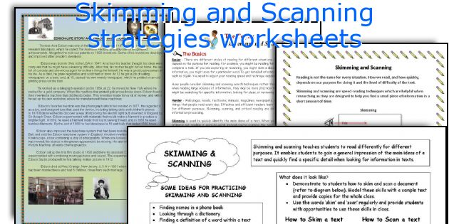 Skimming and Scanning strategies worksheets