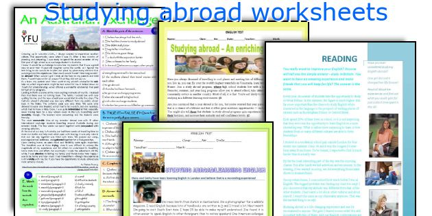 Studying abroad worksheets