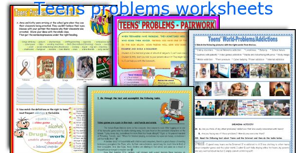 Teens problems worksheets