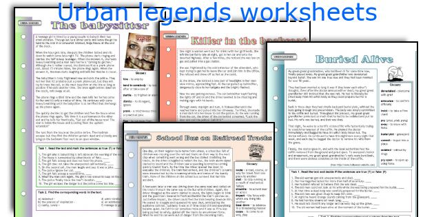 Urban legends worksheets