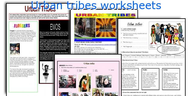 Urban tribes worksheets