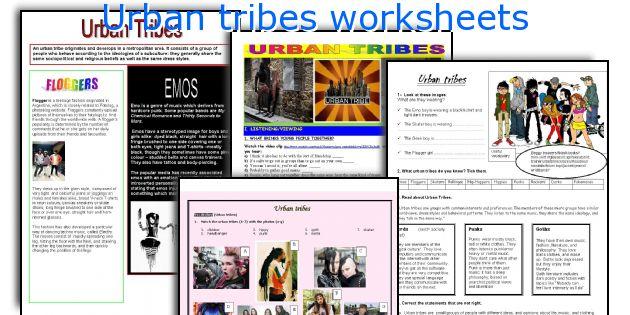 Urban tribes worksheets