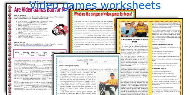 Video games worksheets