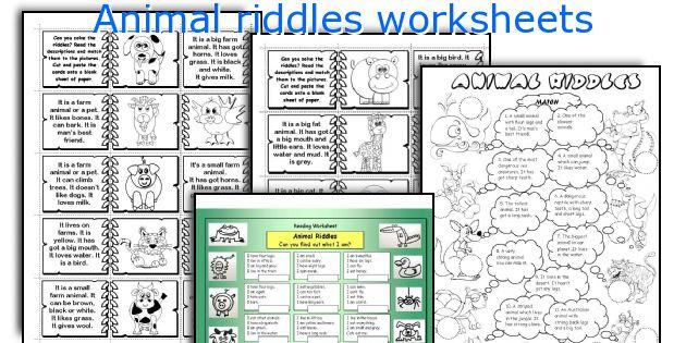 Animal riddles worksheets