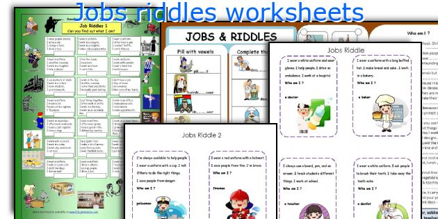 jobs riddles worksheets. Black Bedroom Furniture Sets. Home Design Ideas