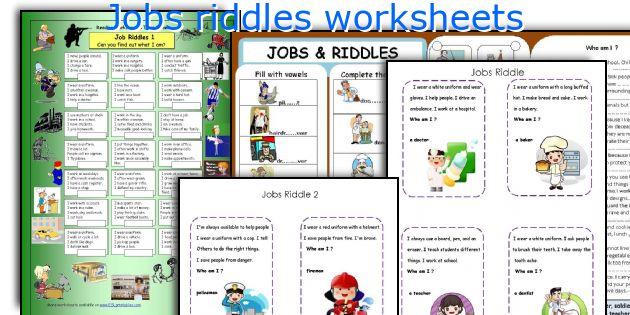 English teaching worksheets: Jobs riddles